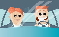 Funny cartoon couple driving in a car Stock Image