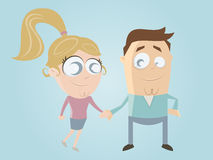 Funny cartoon couple Stock Images