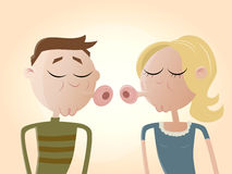 Funny cartoon couple kissing Stock Image