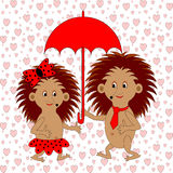 A funny cartoon couple with umbrella under the rai Stock Images