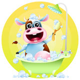Funny cartoon cow in bath. With soap bubbles Stock Photos