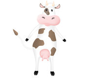 Funny cartoon cow. Funny cute cartoon cow standing. Vector illustration Royalty Free Stock Photo