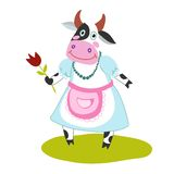 Funny cartoon cow. With a flower in her hand, dress and apron Stock Photos