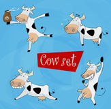 Funny cartoon cow in various poses Stock Photos
