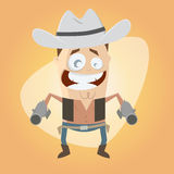 Funny cartoon cowboy Stock Image