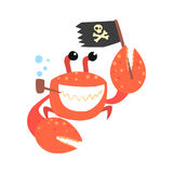 Funny cartoon crab pirate smoking pipe and holding black flag colorful character vector Illustration Stock Photography