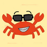 Funny cartoon crab with sunglass on the beach cute illustration Royalty Free Stock Image