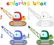 Funny cartoon crane. Coloring book for kids Stock Photo