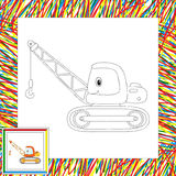 Funny cartoon crane. Coloring book for kids. Vector illustration Stock Photography