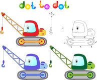 Funny cartoon crane. Connect dots and get image. Educational gam Royalty Free Stock Image
