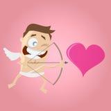 Funny cartoon cupid aiming on a heart Stock Photos