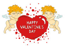 Funny cartoon cupids holding big heart Stock Images