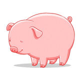 Funny cartoon cute  fat pig illustration Royalty Free Stock Photo