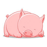 Funny cartoon cute  fat pig illustration Stock Photography