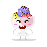 Funny cartoon cute ice cream. Kawaii muzzle. Isolated vector illustration. Happy face. Royalty Free Stock Photos