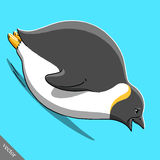 Funny cartoon cute Imperial penguin illustration Stock Photo