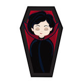 Funny cartoon cute vampire boy sleeps in his coffin. Royalty Free Stock Image