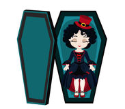 Funny cartoon cute vampire girl sleeping in her coffin. Royalty Free Stock Image