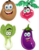 Funny cartoon cute vegetables Stock Photography
