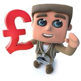 Funny cartoon 3d hiker scout character holding UK Pounds sterling currency. Render of a funny cartoon 3d hiker scout character holding UK Pounds sterling royalty free illustration