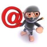 Funny cartoon 3d Ninja assassin character holding an email address symbol. Render of a funny cartoon 3d Ninja assassin character holding an email address symbol vector illustration
