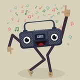 Cartoon dancing radio Royalty Free Stock Photos