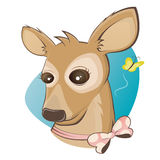 Funny cartoon deer with butterfly Royalty Free Stock Images
