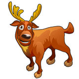 Funny cartoon deer with yellow horns Royalty Free Stock Photo