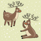 Funny cartoon deers Stock Images