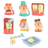 Funny Cartoon Dentist And Patient Illustration Series With Dental Care Procedures And Humanized Teeth Characters Stock Image