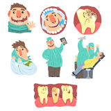 Funny Cartoon Dentist And Patient Illustration Set With Dental Care Procedures And Humanized Teeth Characters Royalty Free Stock Photos