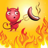 Funny cartoon devil character barbecue. Funny cartoon character devil barbecue roasting sausage Stock Photos