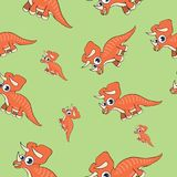 Funny cartoon dinosaur seamless pattern Stock Photography