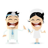 Funny cartoon doctor and nurse Stock Image