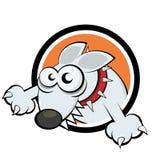 Funny cartoon dog. In badge Stock Photo