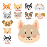 Funny cartoon dog character heads bread cartoon puppy friendly adorable canine vector illustration. Stock Photography