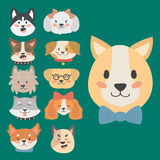 Funny cartoon dog character heads bread cartoon puppy friendly adorable canine vector illustration. vector illustration