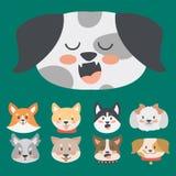 Funny cartoon dog character heads bread cartoon puppy friendly adorable canine vector illustration. Funny cartoon dog character bread heads in cartoon style Stock Photos