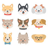 Funny cartoon dog character heads bread cartoon puppy friendly adorable canine vector illustration. royalty free illustration