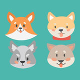 Funny cartoon dog character heads bread cartoon puppy friendly adorable canine vector illustration. Funny cartoon dog character bread heads in cartoon style Royalty Free Stock Image