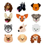 Funny cartoon dog faces. Cute puppy animal vector set. Collection of dog and puppy funny pets illustration Royalty Free Stock Photos