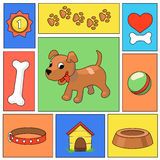 Funny cartoon dog and  icons - vector illustration Stock Photography