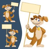 Funny cartoon dog in a tie holding blank banners. Royalty Free Stock Photos