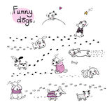 Funny cartoon dogs in the snow. Hand drawing  objects on white background. Vector illustration Stock Photos