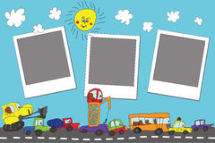 Funny cartoon Doodle photo frame.Child's hand draw cars Stock Photos