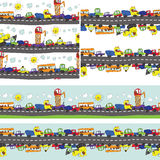 Funny cartoon Doodle seamless pattern.Child's hand draw cars Royalty Free Stock Images