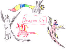 Funny cartoon dragon set drawing illustration Royalty Free Stock Photography