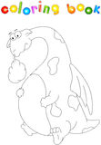 Funny cartoon dragon  on white. Coloring book for kids Royalty Free Stock Image