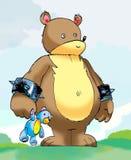 Funny cartoon drawing of a fat bear Royalty Free Stock Photos