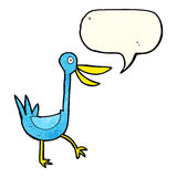 Funny cartoon duck with speech bubble Royalty Free Stock Photography